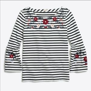 J CREW Embroidered striped bell-sleeve T-shirt L